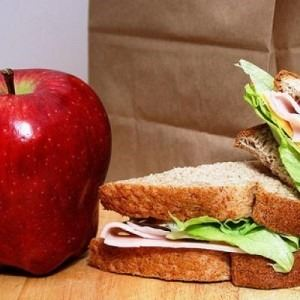 student lunch with apple and sandwhich
