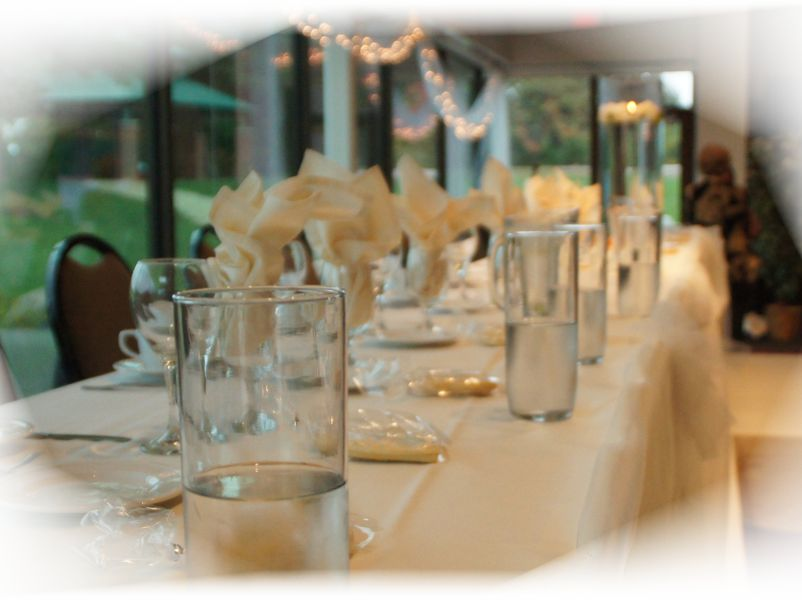 Head Table set with linens and goblets