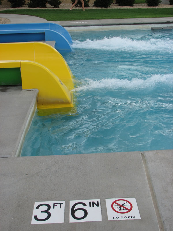 Three foot six inch water depth at exit of bowl water slide